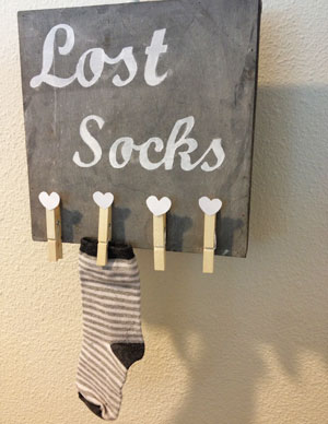 "DIY: Bordje ""Lost socks"""