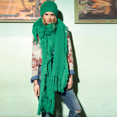 groene lange sjaal breien