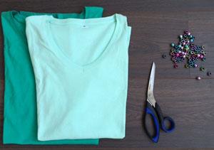 DIY makkelijk maken Tshirt Shawl 2