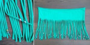 DIY makkelijk maken Tshirt Shawl 5