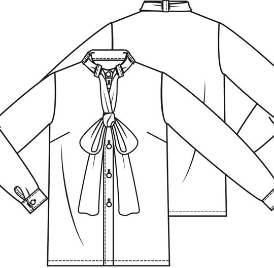 Satijnen strik blouse (Post patroon)-789765