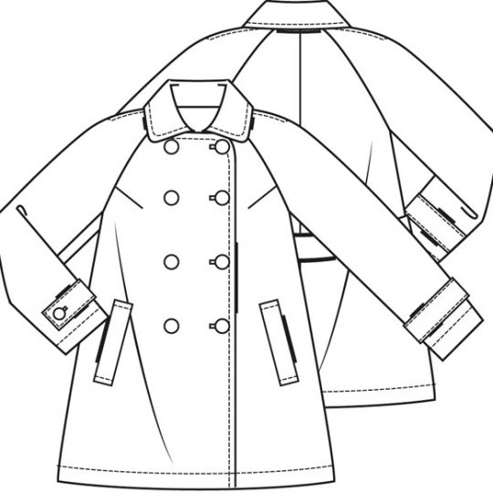 Wollen a-lijn mantel (Print)-788472