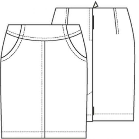 Rechte rok met zakken (Post patroon)-791923