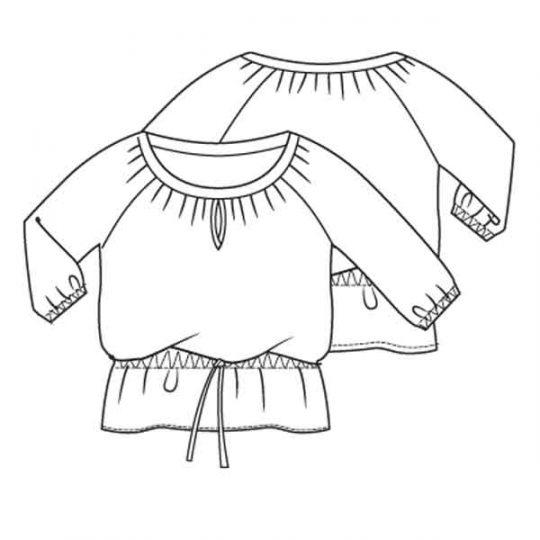 Top met wijde halslijn (Post-patroon)-788595
