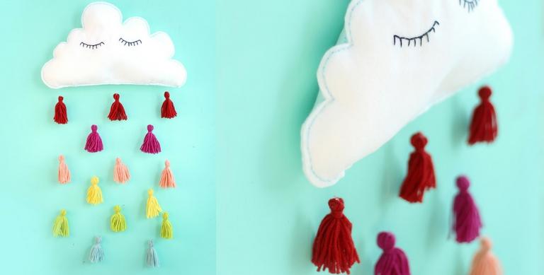 DIY Wanddecoratie | wolk met vrolijke regen