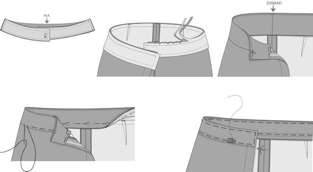 Naaitechniek | tailleband op vorm zonder overslag.